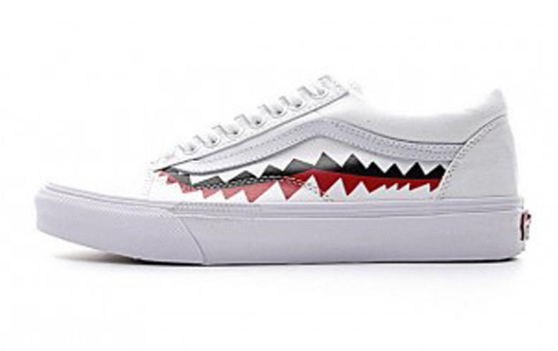 ac3f431b175bf1 Женские кеды Bape x Vans Old Skool Shark Mouths White Black Red - FREE