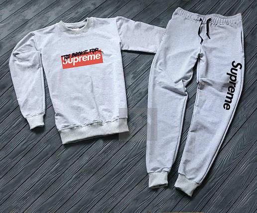 Спортивный костюм без молнии Supreme серый топ реплика, фото 2
