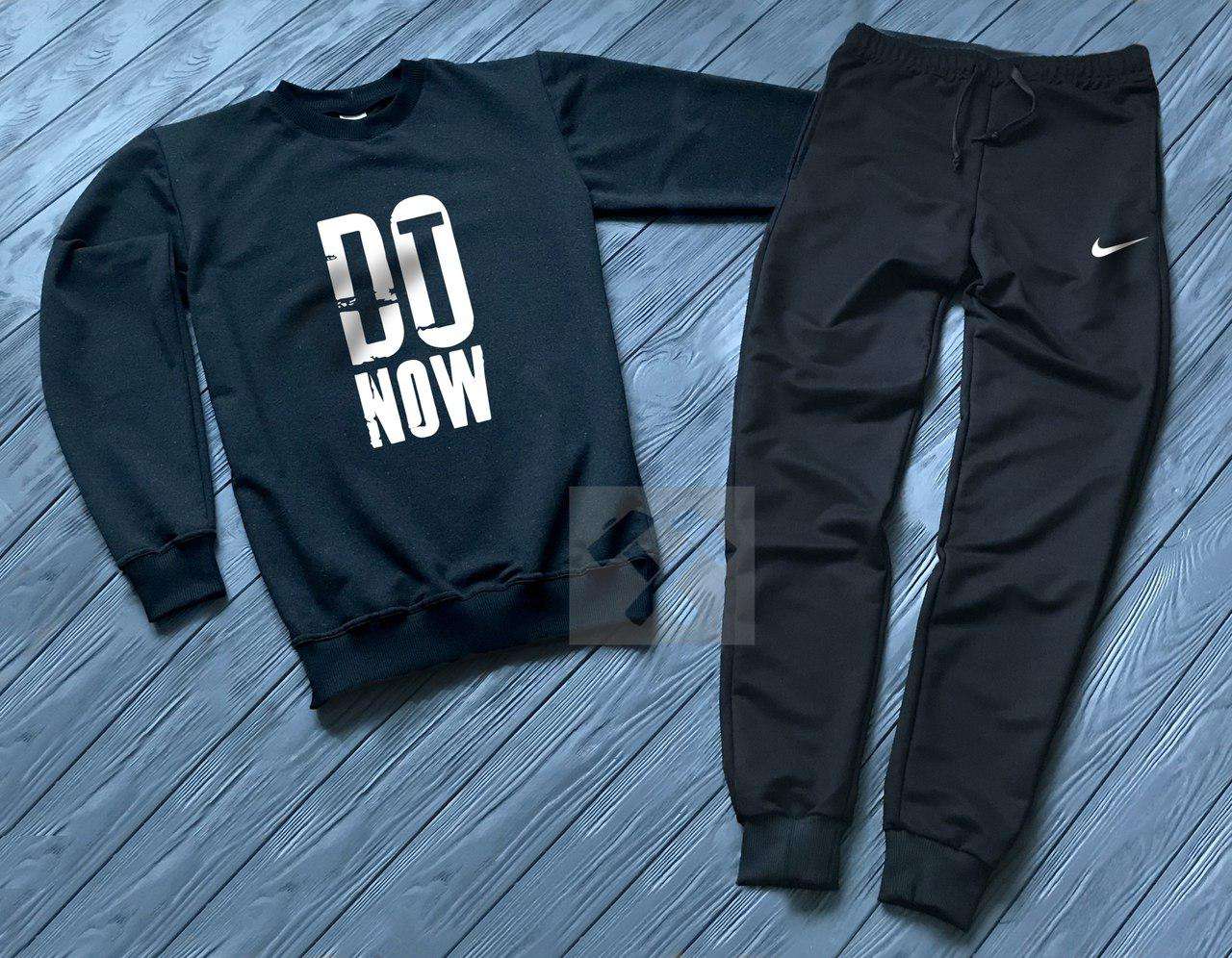 Спортивный костюм без молнии Nike черно-синий топ реплика