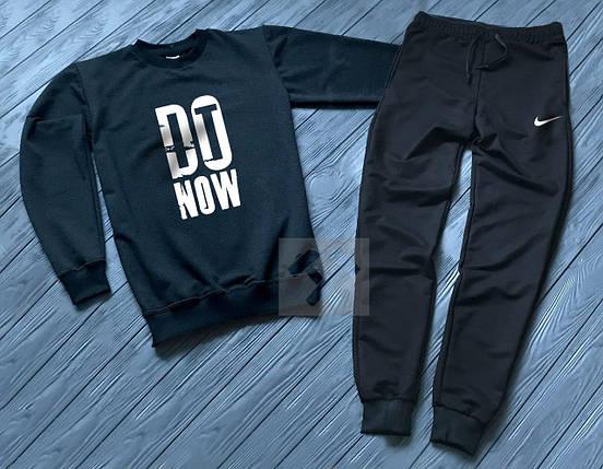Спортивный костюм без молнии Nike черно-синий топ реплика, фото 2