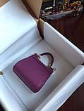 Сумка Дольче Габбана Miss Sicily, натуральная кожа, мини, в баклажановом цвете, фото 5