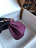 Сумка Дольче Габбана Miss Sicily, натуральная кожа, мини, в баклажановом цвете, фото 8