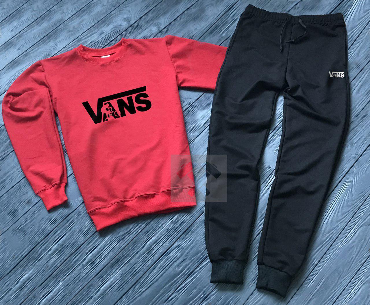Спортивный костюм без молнии Vans красно-черный топ реплика