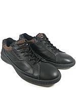 Ecco туфли спортивные мужские реплика из натуральной кожи чёрный (MT-3)