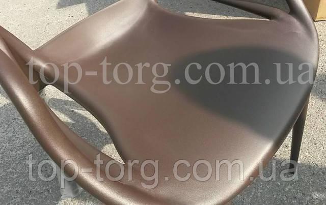 Фото Стул Masters Мастерс темно-коричневый pp-601 Flower brown пластиковый полипропилен цветные гнутые линии