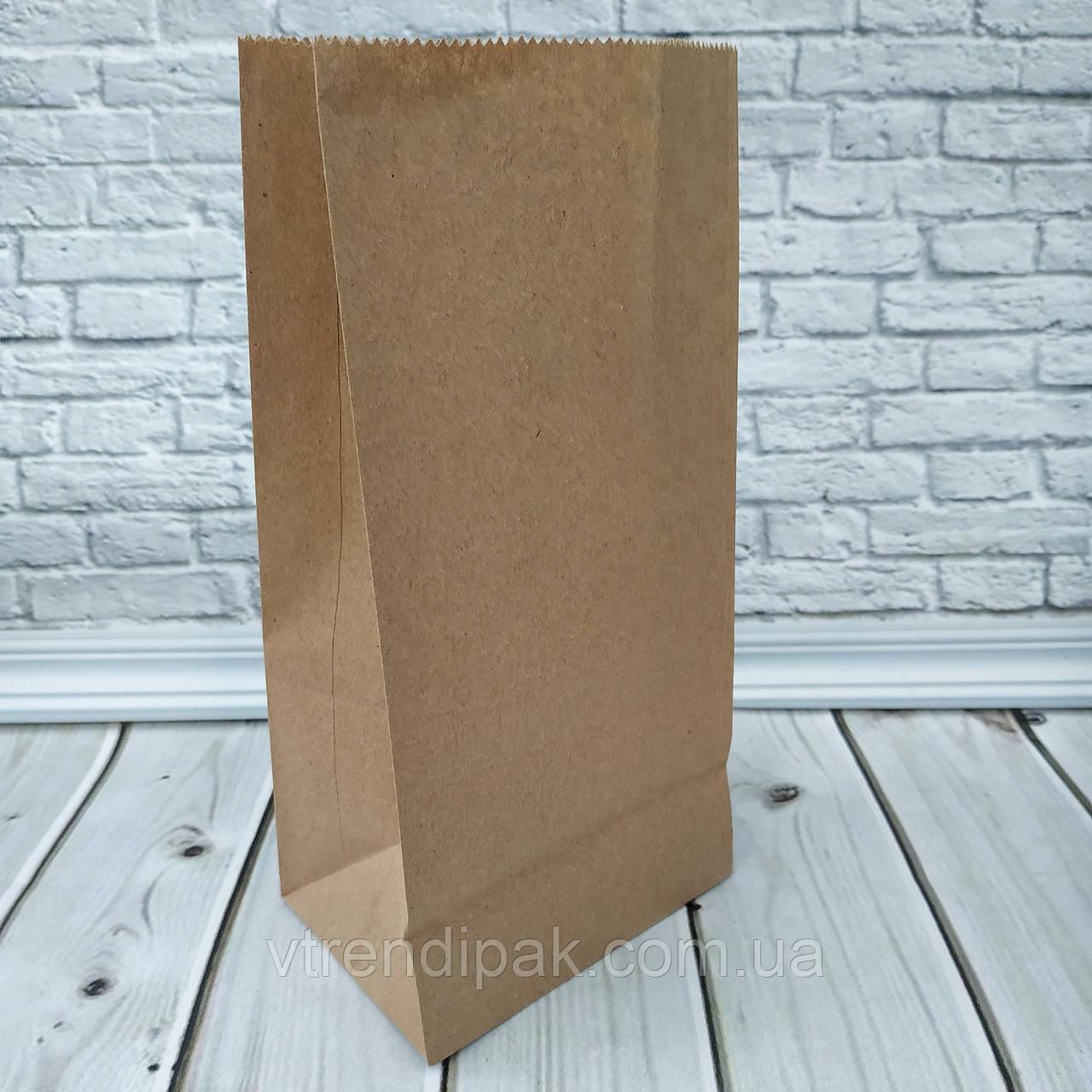 Крафт пакет з плоским дном бурий 240*120*85