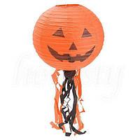 Декор подвесной 30 см оранжевый с тыквой