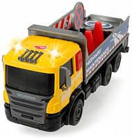 Грузовик для дорожных работ со светом и звуком, Dickie Toys, с дорожными знаками (374 2008-3)