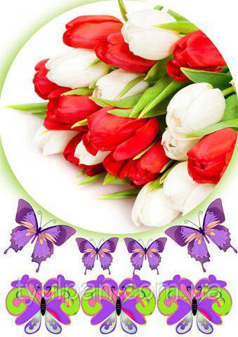 Вафельная картинка букеты цветы  для женщин и мужчин ТЮЛЬПАНЫ