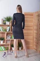 Приталенное платье прямого кроя до колен длинный рукав черное, фото 3