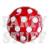 Фольгированный воздушный шар Полька красный, 45*45 см
