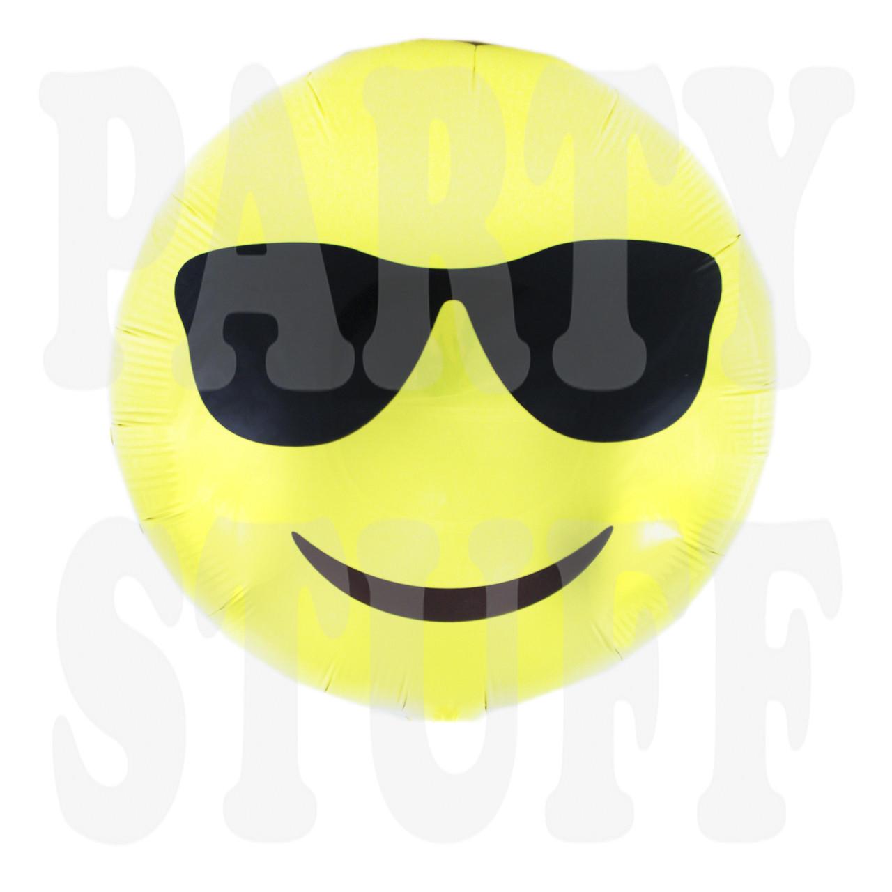 Шар Смайлик в очках, 45*45 см