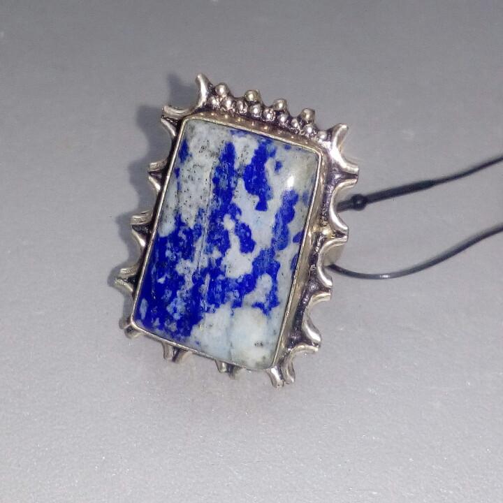 Лазурит кольцо с натуральным камнем лазурит в серебре. Размер 17 Индия