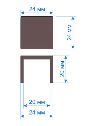 Заглушка зовнішня квадратна 20х20, фото 2