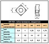 DIN 928 - нержавеющая гайка приварная, квадратная, фото 3