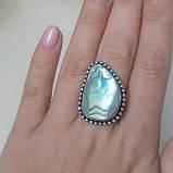 Перламутр кольцо с натуральным галиотисом в серебре. Размер 18. Индия, фото 3