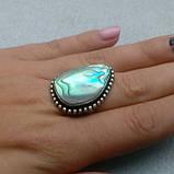 Перламутр кольцо с натуральным галиотисом в серебре. Размер 18. Индия, фото 2