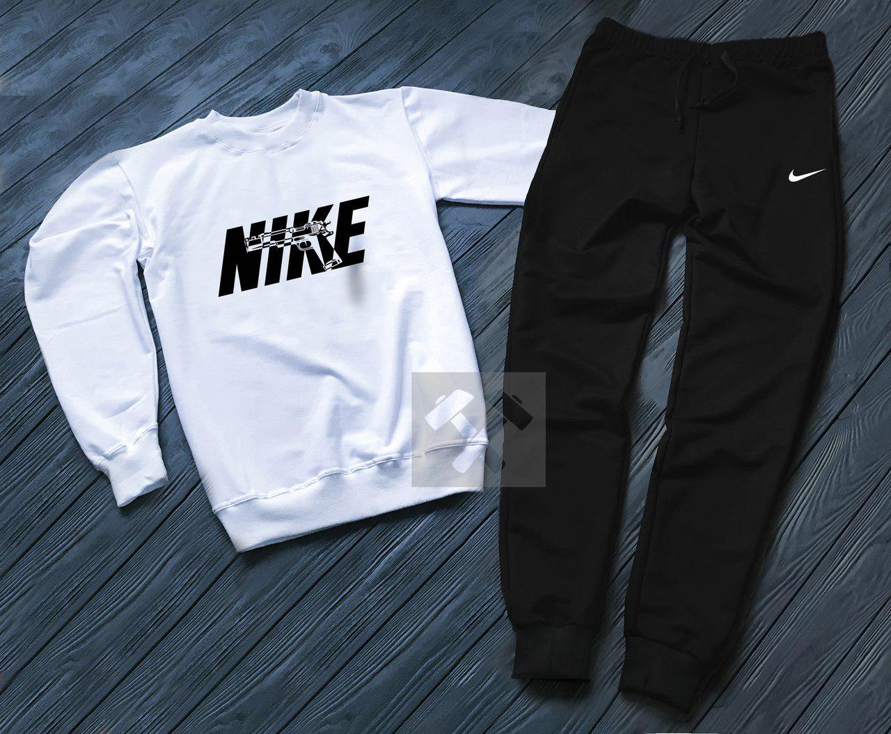 Спортивный костюм без молнии Nike бело-черный топ реплика