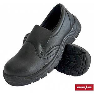 Кроссовки защитные BRFODREIS B с металлическим носком, выполнены из кожи, черного цвета. REIS