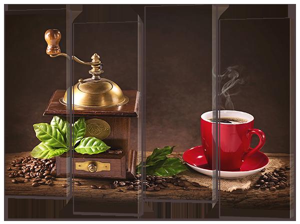"""Модульная картина """"Чашка кофе и мята"""""""