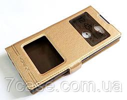 Чехол книжка с окошками momax для Sony Xperia XA2 H4113 золотой