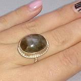 Лабрадорит пурпурный кольцо с натуральным камнем лабрадор в серебре 18 размер. Кольцо с лабрадором. Индия, фото 3