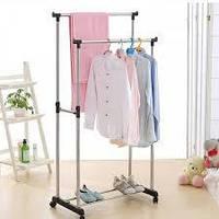 Телескопическая стойка-вешалка для одежды и обуви - Double Pole Clothes