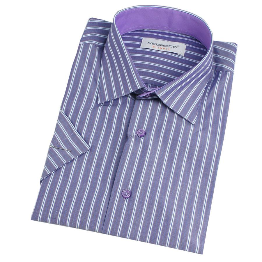 Приталенная мужская рубашка с коротким рукавом размер L