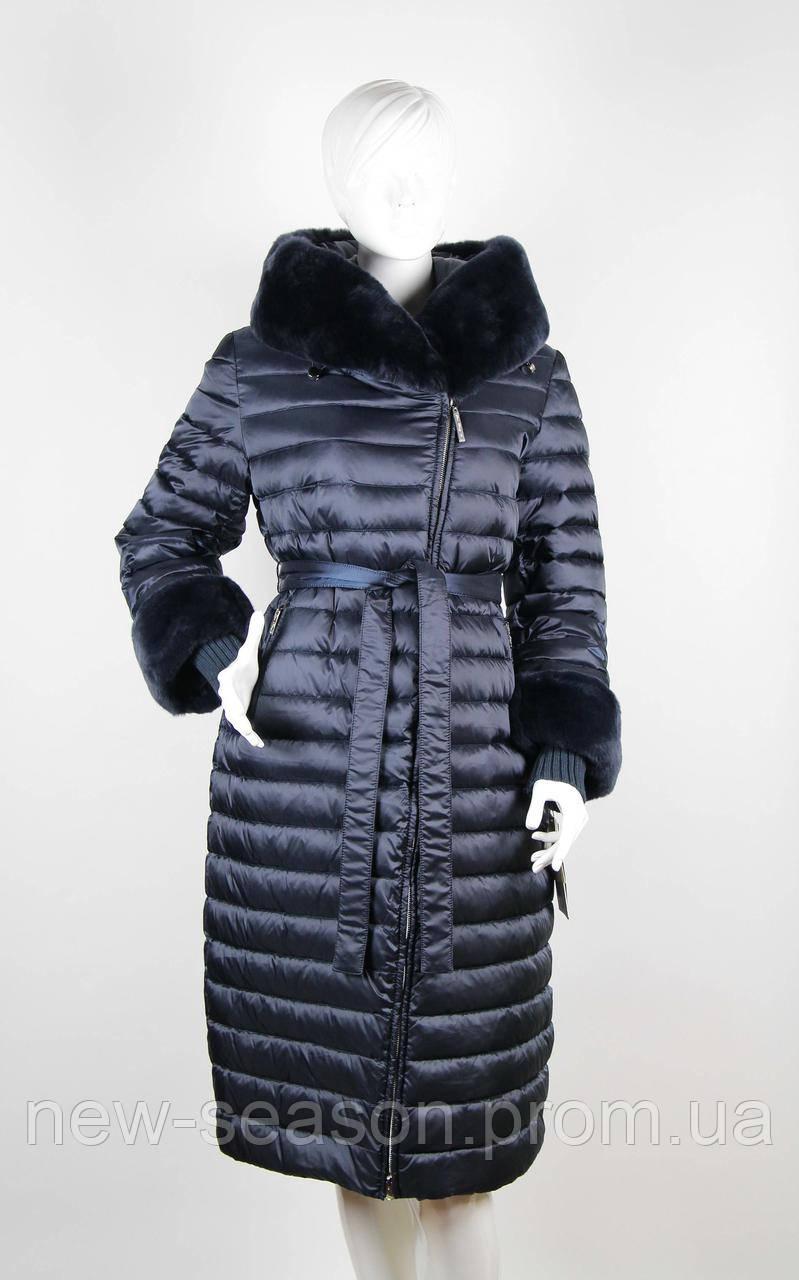 Пуховик длинный стеганый  Snow Beauty 1869A темно-синий