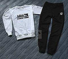 Спортивный костюм без молнии Aria бело-черный топ реплика