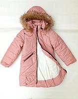Куртка - пальто зимнее на девочек 128, 134, 140, 146 см, фото 1