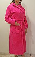 """Халат махровый женский """"Розовый"""" средней длины, женский халат домашний , фото 1"""