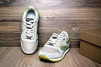 Женские кроссовки Reebok Classic бежевые с салатовым (реплика)