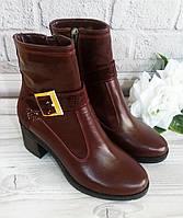 Кожаные ботинки на широком каблуке, цвет марсала