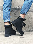 Зимние ботинки Timberland classic 6 inch black fur с мехом. Живое фото (Реплика ААА+), фото 4