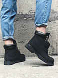 Зимние ботинки Timberland classic 6 inch black fur с мехом. Живое фото (Реплика ААА+), фото 3