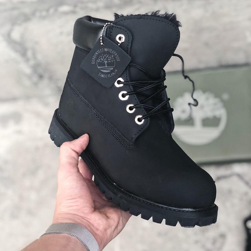 Зимние ботинки Timberland classic 6 inch black fur с мехом. Живое фото (Реплика ААА+)