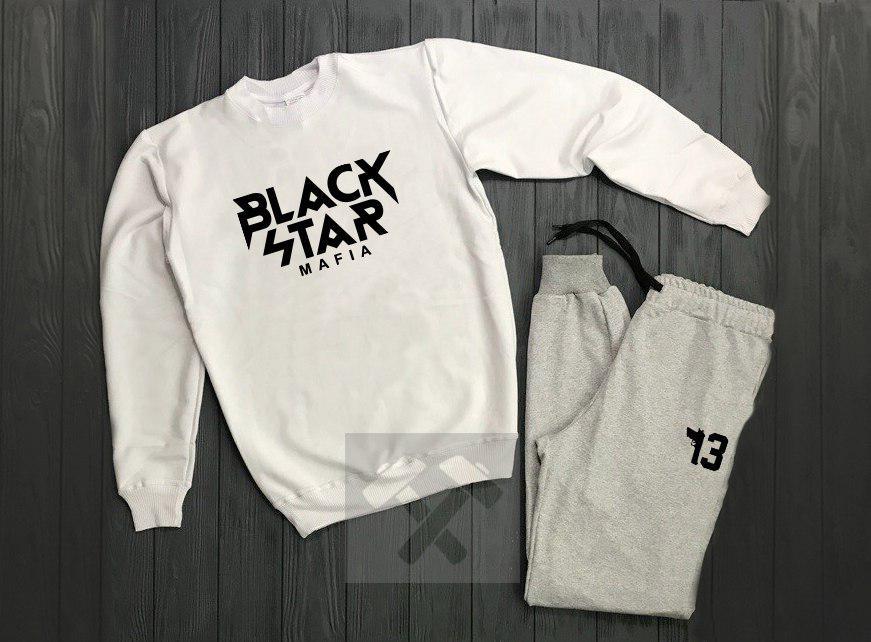 Спортивный костюм без молнии Black Star бело-серый топ реплика
