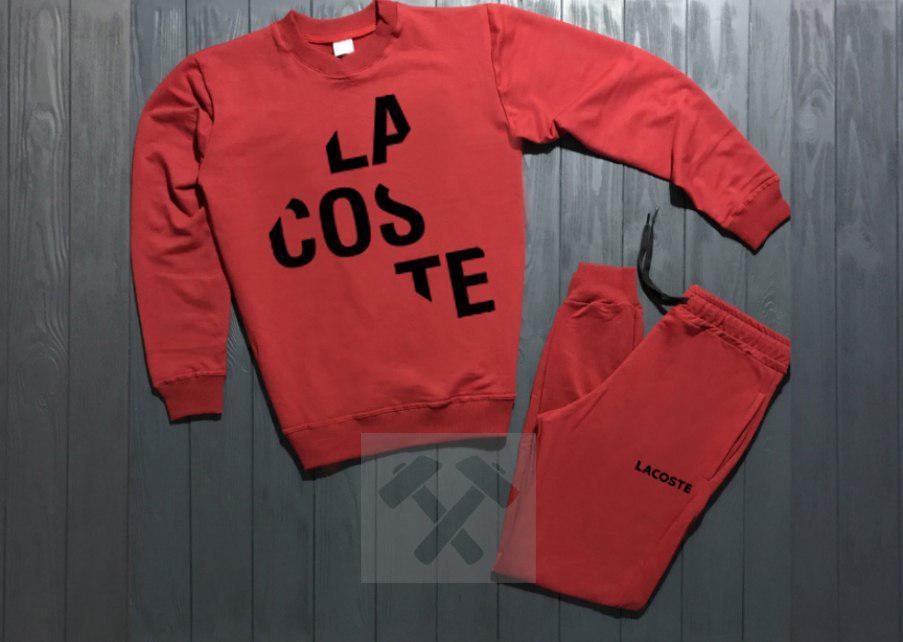 Спортивный костюм без молнии Lacoste красный топ реплика