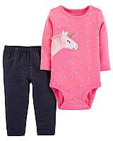 """Комплект """"Единорог"""" Carter's для девочки, 2-Piece Bodysuit Pant Set (12 мес)"""