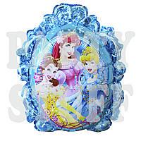 Фольгированный фигурный шар Принцессы Дисней голубой, 68*56 см