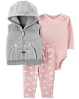 Комплект  Carter's для девочки, 3-Piece Kitty Little Vest Set (24 мес)