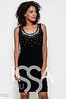 Черное трикотажное обтягивающее платье без рукавов с тесемками на спине и инкрустацией стразами спереди на лифе