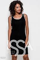 Черное трикотажное обтягивающее платье без рукавов с жемчужинами на проймах