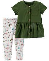 Комплект Carter's для девочки, 2-Piece Button-Front Ruffle Top & Owl Legging Set (24 мес)