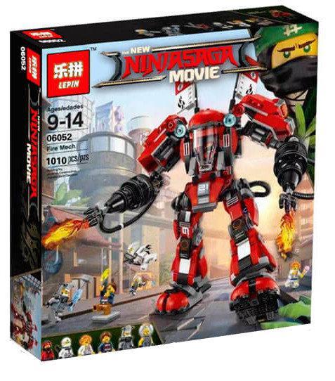 "Конструктор Lepin 06052 ""Огненный робот Кая"" Ниндзяго Муви, 1010 деталей. Аналог Lego Ninjago Movie 70615"
