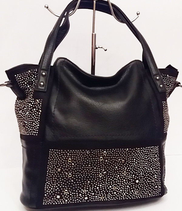 e1a9f61fa578 Прекрасная женская сумка из замшевой и прессованной кожи, с украшением страз