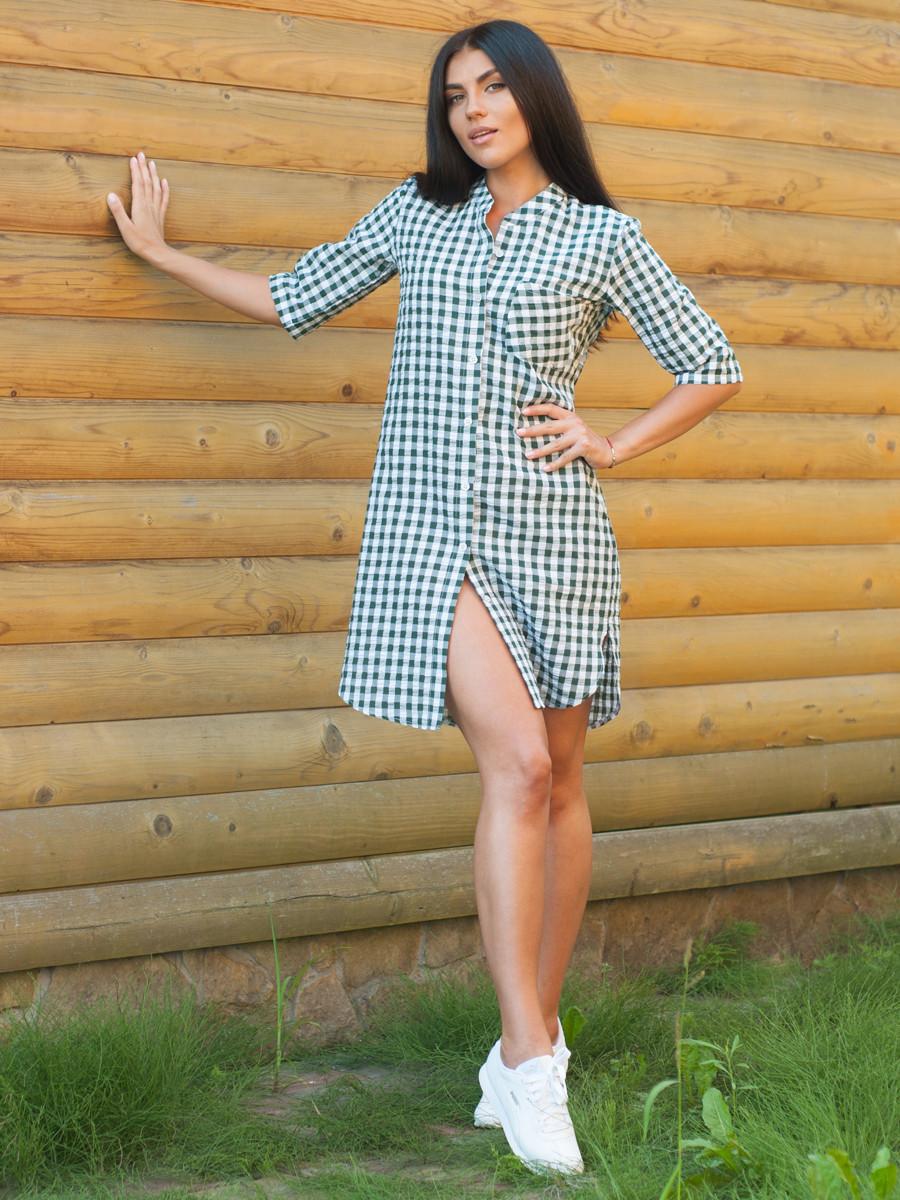 Женское платье-рубашка на лето по колено
