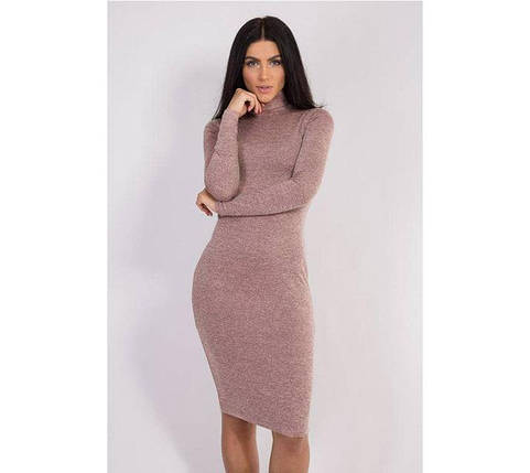Пудровое платье футляр по фигуре до колен из ангоры, фото 2