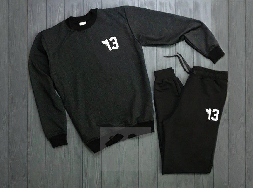 Спортивный костюм без молнии черно-серый